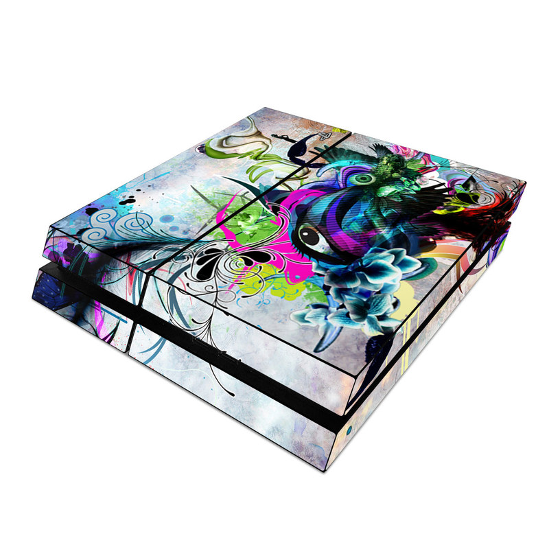 PlayStation 4 Skin design of Graphic design, Psychedelic art, Art, Illustration, Purple, Visual arts, Graffiti, Street art, Design, Painting with gray, black, blue, green, purple colors