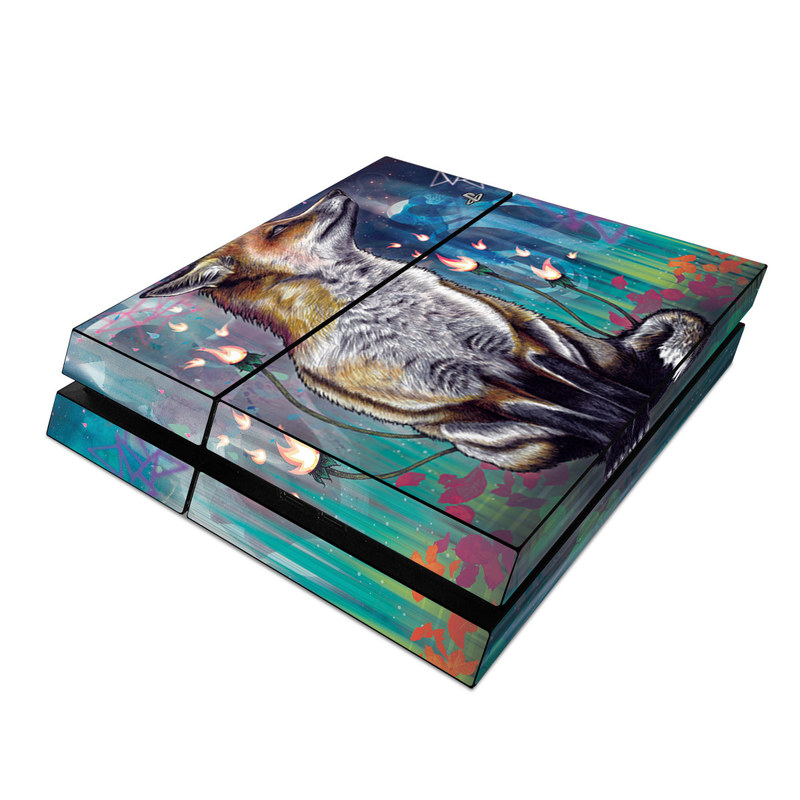PlayStation 4 Skin design of Red fox, Art, Wildlife, Canidae, Illustration, Fox, Carnivore, Painting, Dhole, Red wolf with black, gray, blue, red, green colors