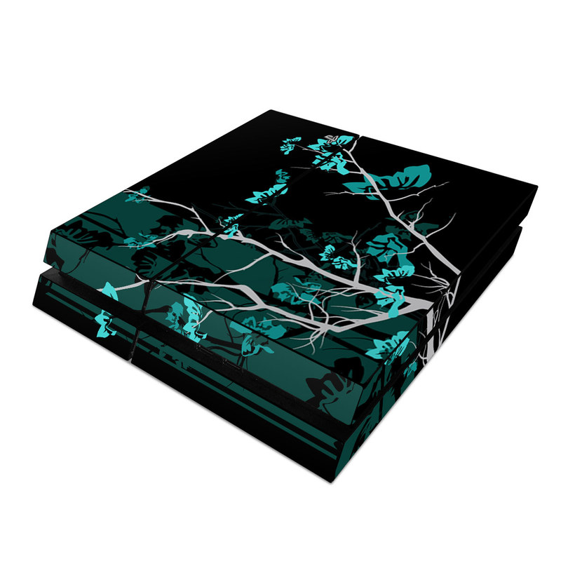 PlayStation 4 Skin design of Branch, Black, Blue, Green, Turquoise, Teal, Tree, Plant, Graphic design, Twig with black, blue, gray colors
