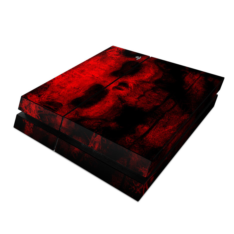 PlayStation 4 Skin design of Red, Skull, Bone, Darkness, Mouth, Graphics, Pattern, Fiction, Art, Fractal art with black, red colors