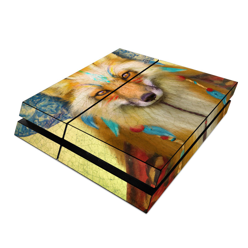 PlayStation 4 Skin design of Red fox, Canidae, Fox, Wildlife, Swift fox, Carnivore, Jackal, Fur, Snout, Art with red, black, gray, green, blue colors