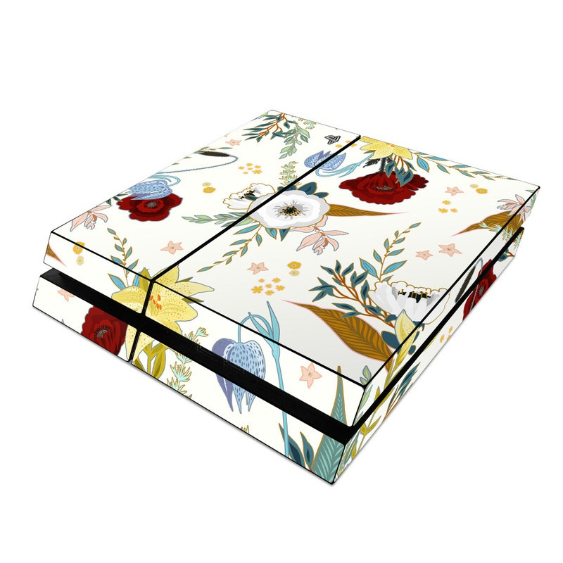 PlayStation 4 Skin design of Floral design, Pattern, Wrapping paper, Botany, Design, Flower, Wallpaper, Plant, Clip art, Pedicel with white, blue, red, yellow, pink, orange colors