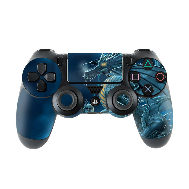 PlayStation 4 Controller Skin design of Cg artwork, Dragon, Mythology, Fictional character, Illustration, Mythical creature, Art, Demon with blue, yellow colors