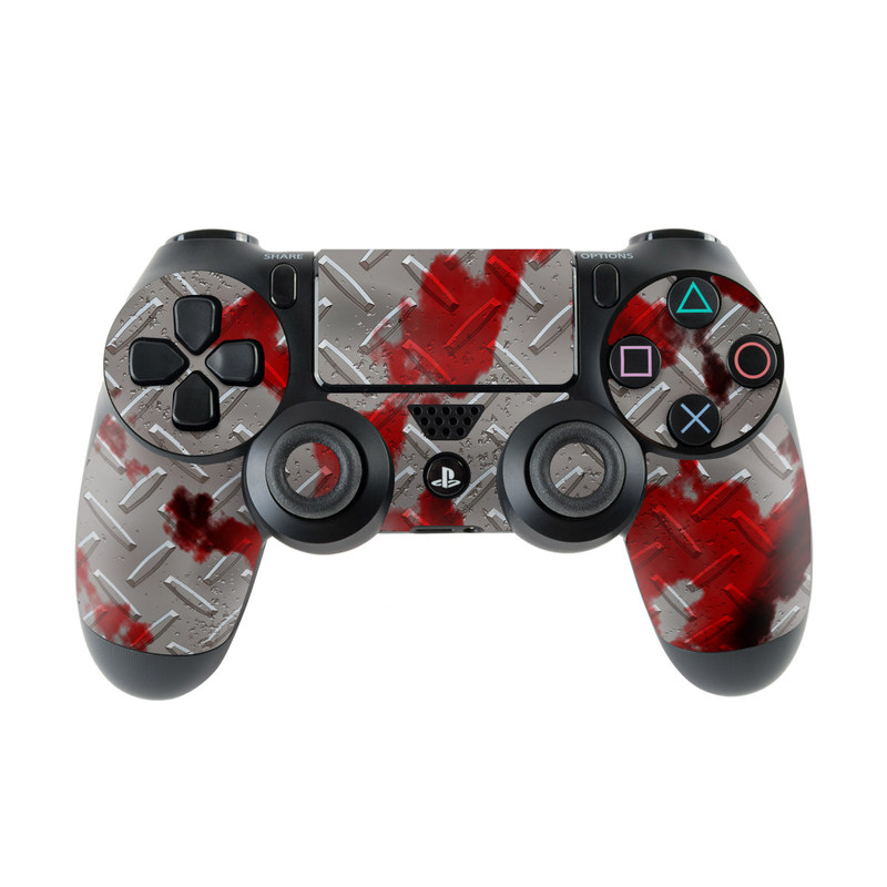 PlayStation 4 Controller Skin design of Red, Pattern, Carmine, Design, Plant, Jigsaw puzzle with gray, red colors