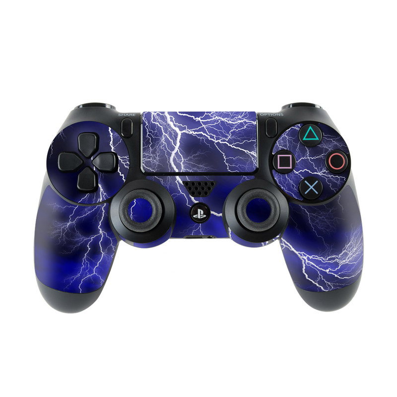 PlayStation 4 Controller Skin design of Thunder, Lightning, Thunderstorm, Sky, Nature, Electric blue, Atmosphere, Daytime, Blue, Atmospheric phenomenon with blue, black, white colors