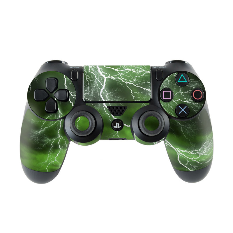 PlayStation 4 Controller Skin design of Thunderstorm, Thunder, Lightning, Nature, Green, Water, Sky, Atmosphere, Atmospheric phenomenon, Daytime with green, black, white colors