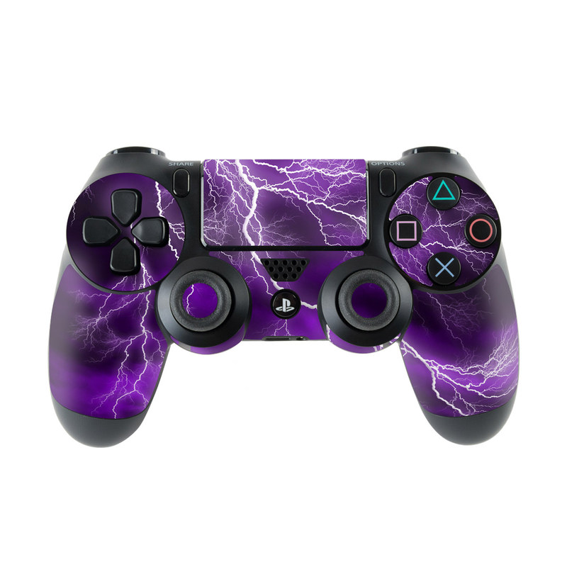 PlayStation 4 Controller Skin design of Thunder, Lightning, Thunderstorm, Sky, Nature, Purple, Violet, Atmosphere, Storm, Electric blue with purple, black, white colors