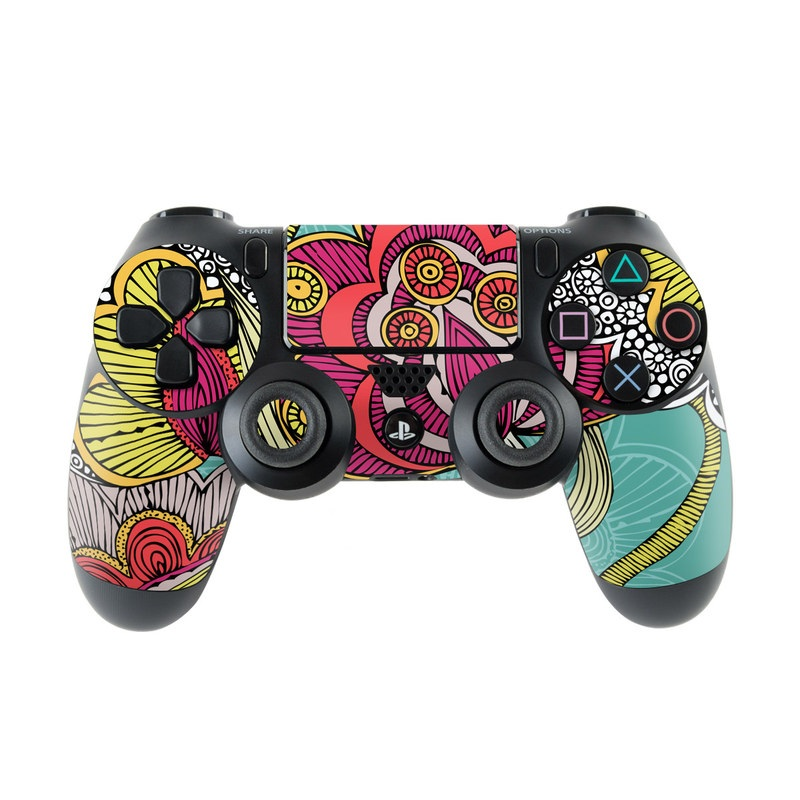 PlayStation 4 Controller Skin design of Pattern, Visual arts, Motif, Floral design, Design, Art, Plant, Flower, Organism, Textile with red, yellow, blue, gray, pink colors