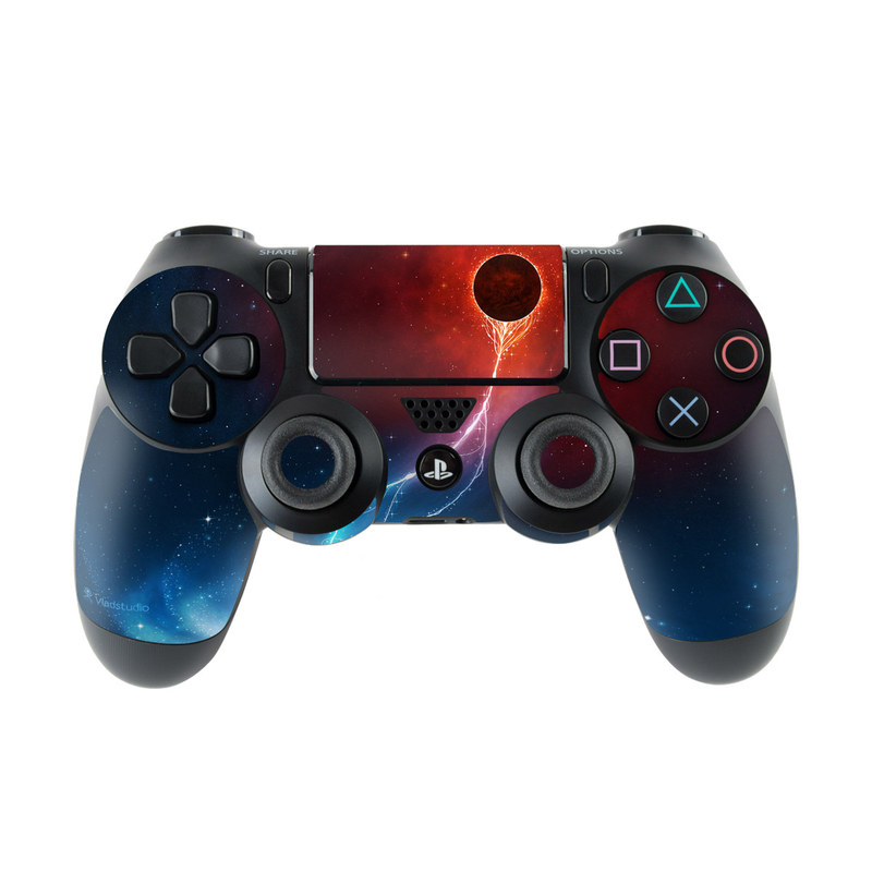 PlayStation 4 Controller Skin design of Outer space, Atmosphere, Astronomical object, Universe, Space, Sky, Planet, Astronomy, Celestial event, Galaxy with blue, red, black colors