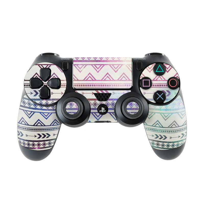 PlayStation 4 Controller Skin design of Pattern, Line, Teal, Design, Textile with gray, pink, yellow, blue, black, purple colors