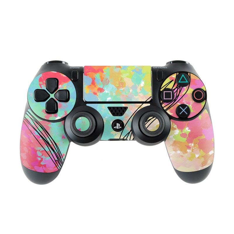 PlayStation 4 Controller Skin design of Pattern, Line, Graphic Design, Design, Visual Arts, Art, Plant, Wallpaper, Illustration, Cg Artwork with black, white, red, pink, blue, green, yellow, orange, brown colors