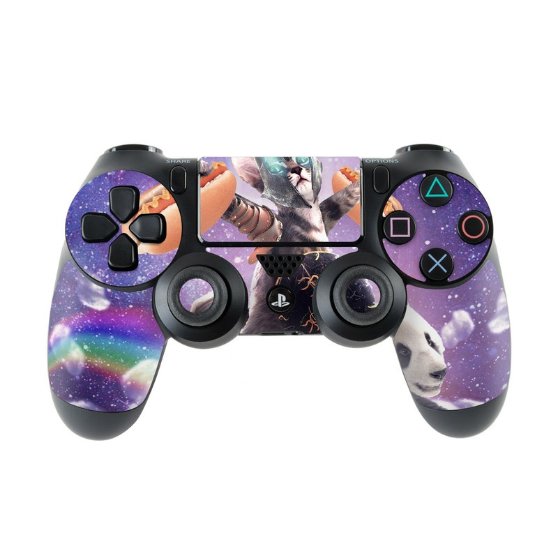 PlayStation 4 Controller Skin design of Bear, Illustration, Outer space, Animated cartoon, Graphic design, Teddy bear, Space, Sky, Graphics, Fictional character with black, white, blue, brown, gray, red, yellow, green, pink colors