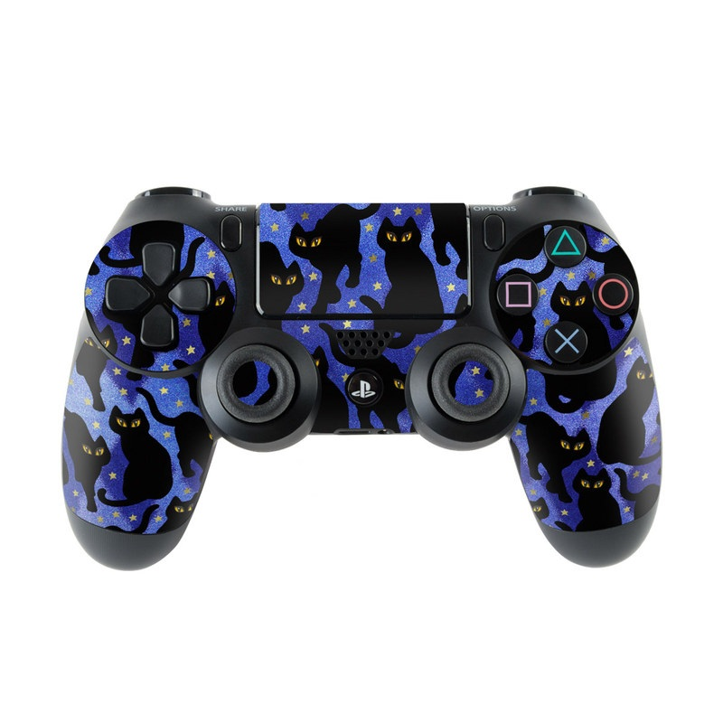 PlayStation 4 Controller Skin design of Black cat, Black, Cat, Small to medium-sized cats, Pattern, Felidae, Design, Electric blue, Illustration, Art with black, blue, purple, yellow colors