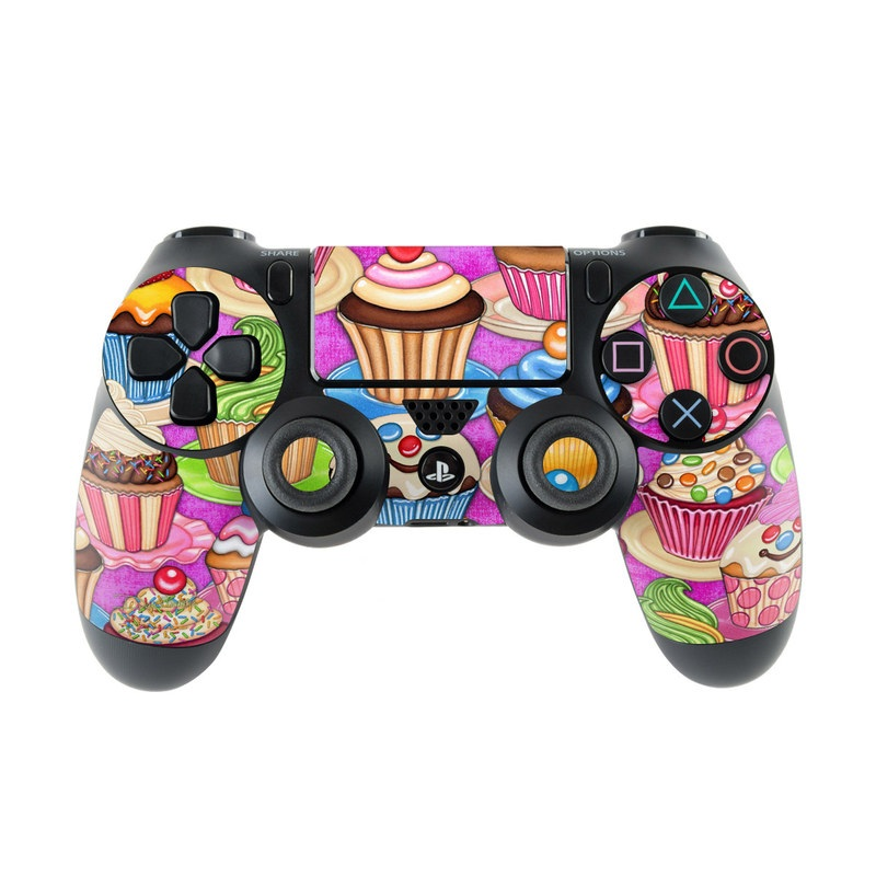 PlayStation 4 Controller Skin design of Cupcake, Baking cup, Icing, Baking, Cake decorating, Dessert, Cake, Cake decorating supply, Food, Sweetness with pink, green, blue, orange, yellow, brown colors