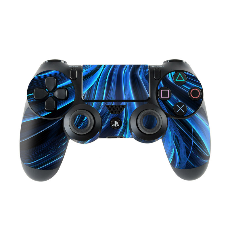 PlayStation 4 Controller Skin design of Blue, Water, Pattern, Electric blue, Fractal art, Design, Graphics, Wave, Art, Space with black, blue colors
