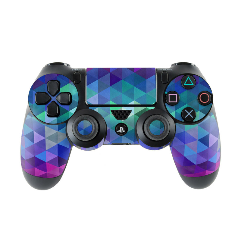 PlayStation 4 Controller Skin design of Purple, Violet, Pattern, Blue, Magenta, Triangle, Line, Design, Graphic design, Symmetry with blue, purple, green, red, pink colors