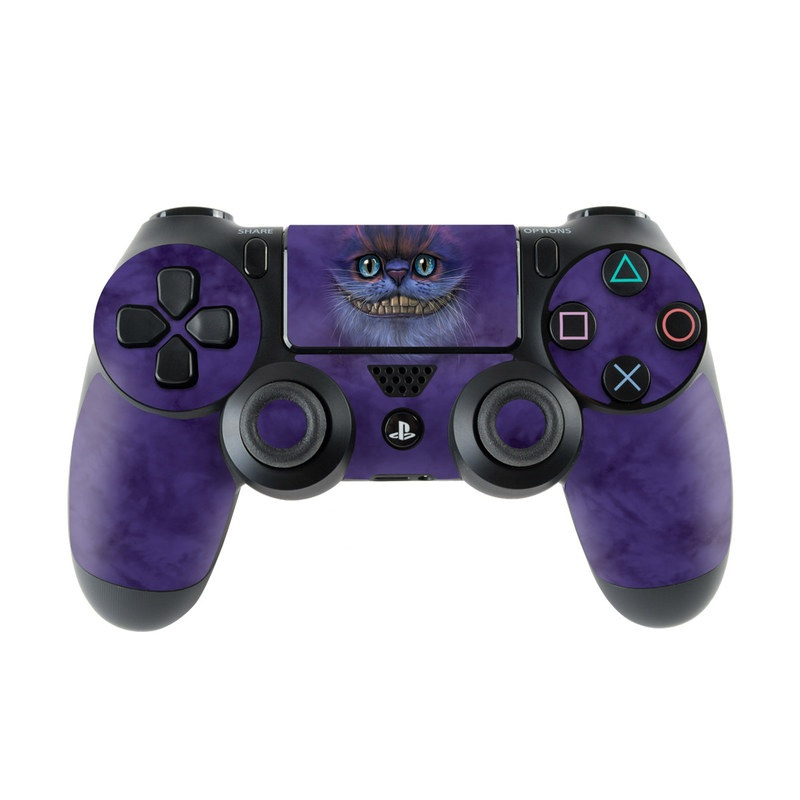 PlayStation 4 Controller Skin design of Cat, Whiskers, Felidae, Small to medium-sized cats, Snout, Eye, Illustration, Ojos azules, Black cat, Carnivore with purple, blue colors