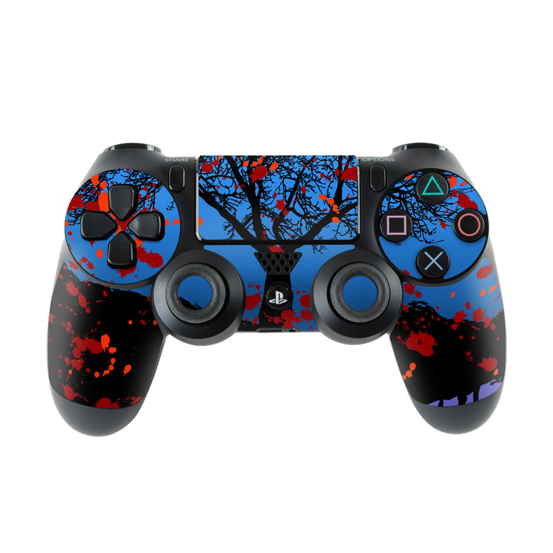 PlayStation 4 Controller Skin design of Red, Sky, Tree, Blue, Natural landscape, Leaf, Woody plant, Water, Plant, Branch with black, blue, red colors