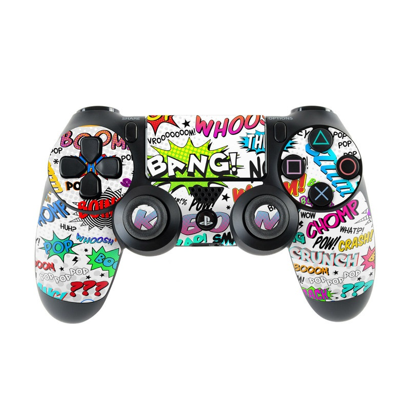 PlayStation 4 Controller Skin design of Text, Font, Line, Graphics, Art, Graphic design with gray, white, red, blue, black colors