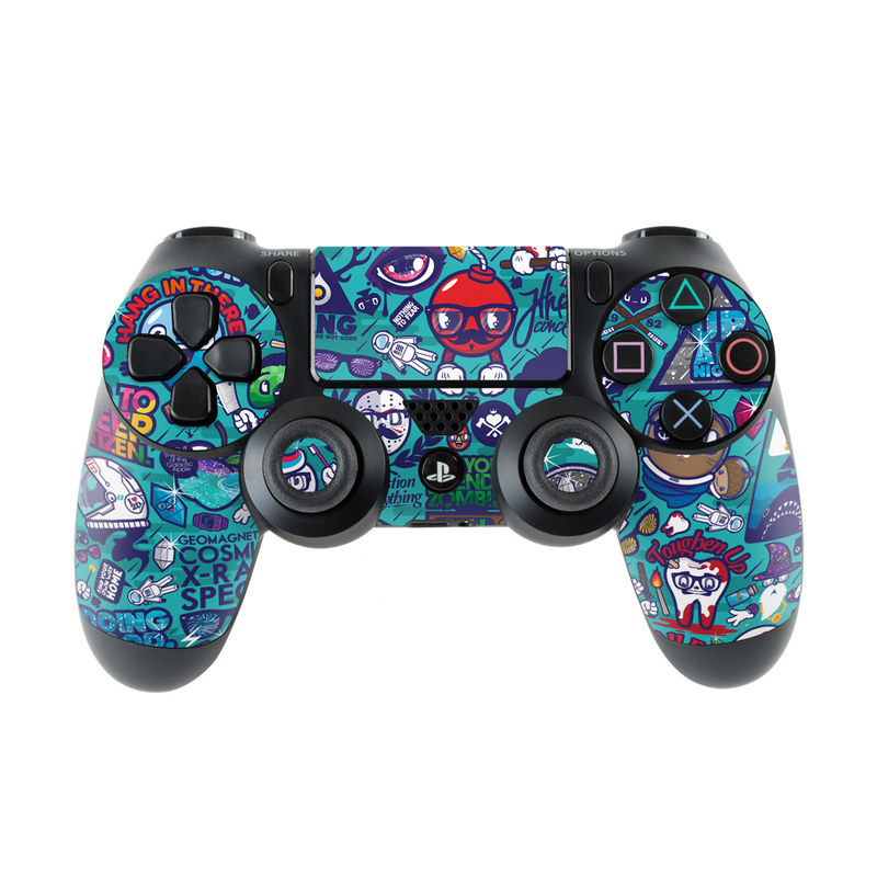 PlayStation 4 Controller Skin design of Art, Visual arts, Illustration, Graphic design, Psychedelic art with blue, black, gray, red, green colors