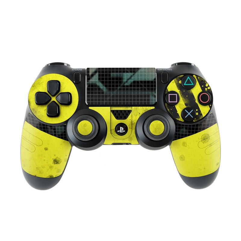 PlayStation 4 Controller Skin design of Yellow, Green, Font, Pattern, Graphic design with black, yellow, gray, blue, green colors