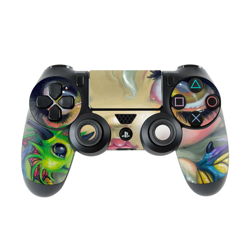 PlayStation 4 Controller Skin design of Illustration, Art, Fictional character, Painting, Visual arts, Fawn, Ear, Drawing with gray, black, green, blue, red colors
