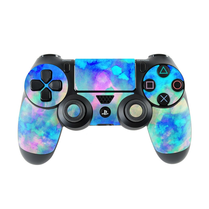 PlayStation 4 Controller Skin design of Blue, Turquoise, Aqua, Pattern, Dye, Design, Sky, Electric blue, Art, Watercolor paint with blue, purple colors
