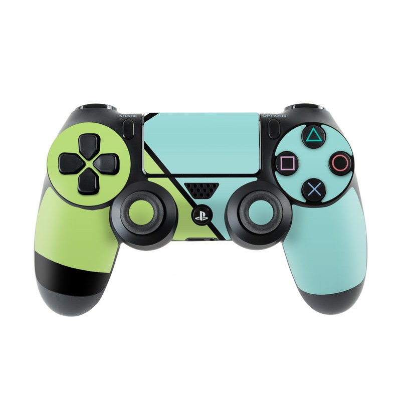 PlayStation 4 Controller Skin design of Green, Line, Blue, Triangle, Design, Parallel, Pattern, Graphic design, Slope with white, black, green, blue colors