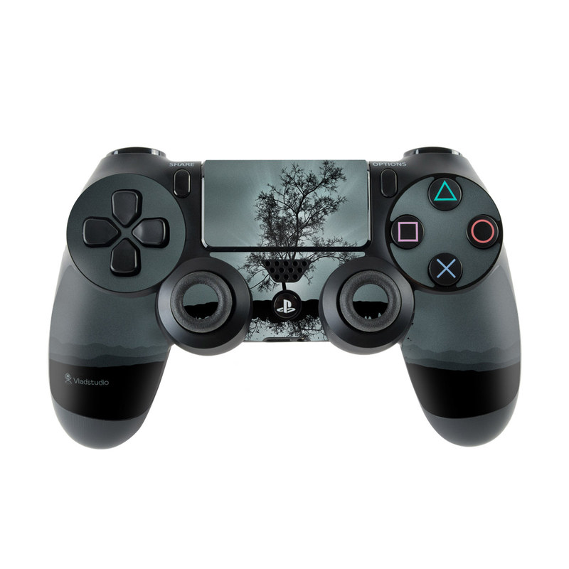 PlayStation 4 Controller Skin design of Reflection, Sky, Nature, Water, Black, Tree, Black-and-white, Monochrome photography, Natural landscape, Atmospheric phenomenon with black, gray, blue colors