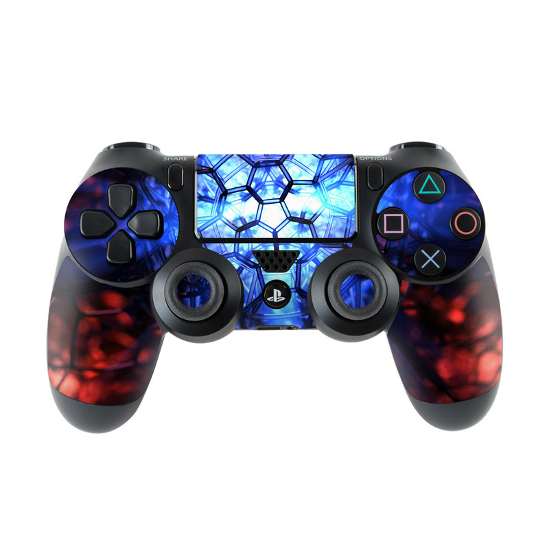 PlayStation 4 Controller Skin design of Blue, Fractal art, Red, Light, Pattern, Lighting, Art, Kaleidoscope, Design, Psychedelic art with black, blue, red colors