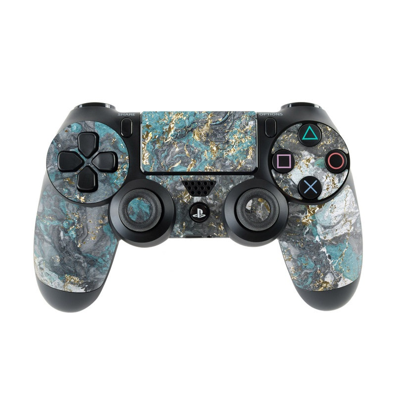 PlayStation 4 Controller Skin design of Blue, Turquoise, Green, Aqua, Teal, Geology, Rock, Painting, Pattern with black, white, gray, green, blue colors