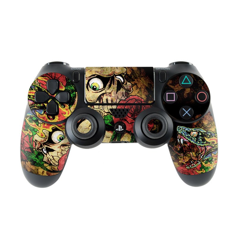 PlayStation 4 Controller Skin design of Illustration, Bouquet, Art, Skull, Plant, Rose, Flower, Graphic design, Fictional character, Floral design with black, red, green, gray colors
