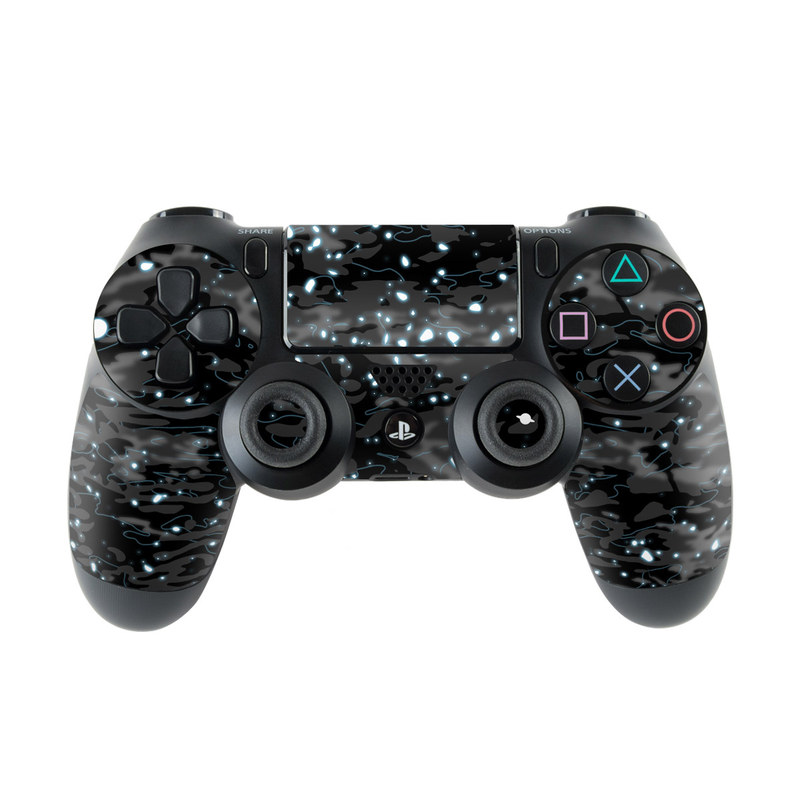 PlayStation 4 Controller Skin design of Black, Water, Space, Black-and-white, Granite with blue, white, gray, blue colors