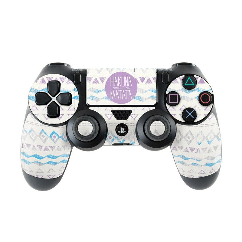 PlayStation 4 Controller Skin design of Text, Font, Aqua, Pattern, Line, Purple, Turquoise, Teal, Design, Textile with gray, white, yellow, pink, purple colors