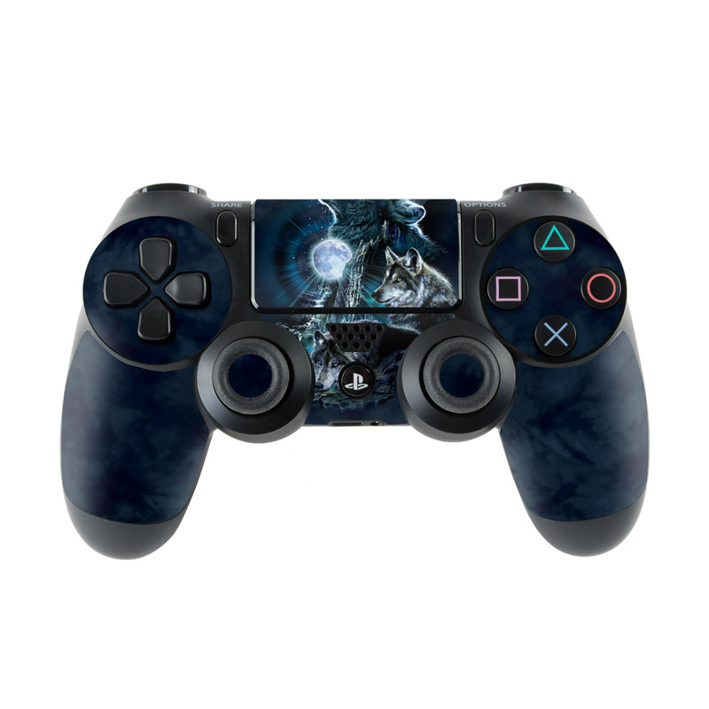 PlayStation 4 Controller Skin design of Darkness, Wolf, Fictional character, Cg artwork, Mythical creature, Werewolf, Mythology, Graphic design, Illustration, Space with black, gray, blue colors