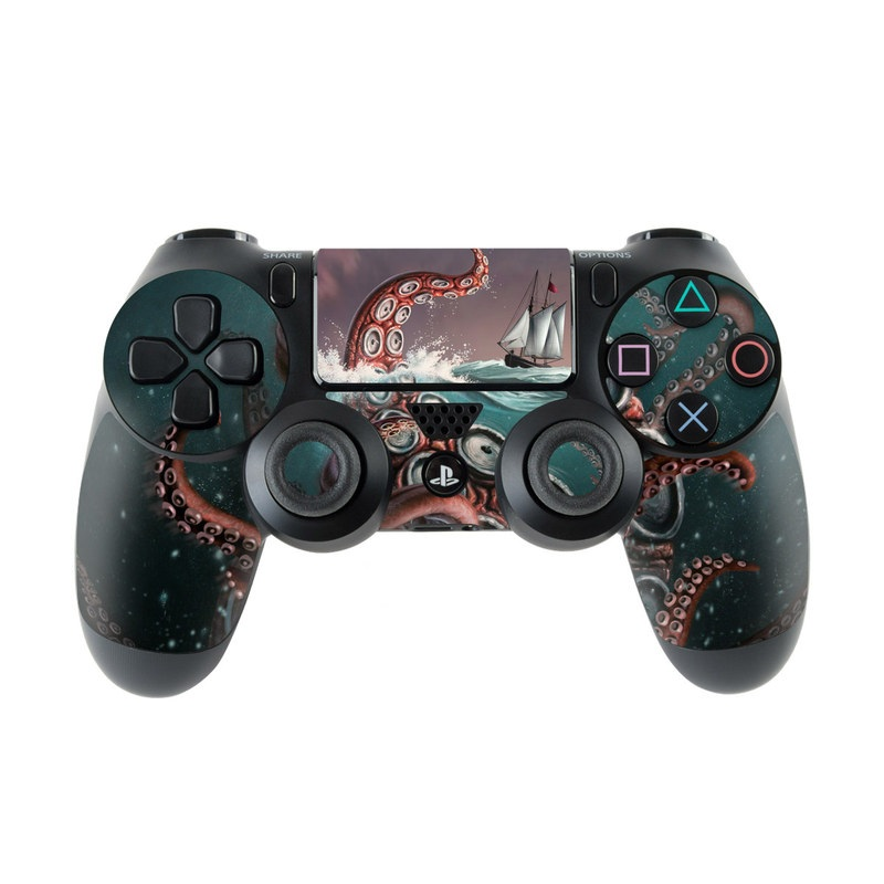 PlayStation 4 Controller Skin design of Octopus, Water, Illustration, Wind wave, Sky, Graphic design, Organism, Cephalopod, Cg artwork, giant pacific octopus with blue, gray, white, brown, red colors