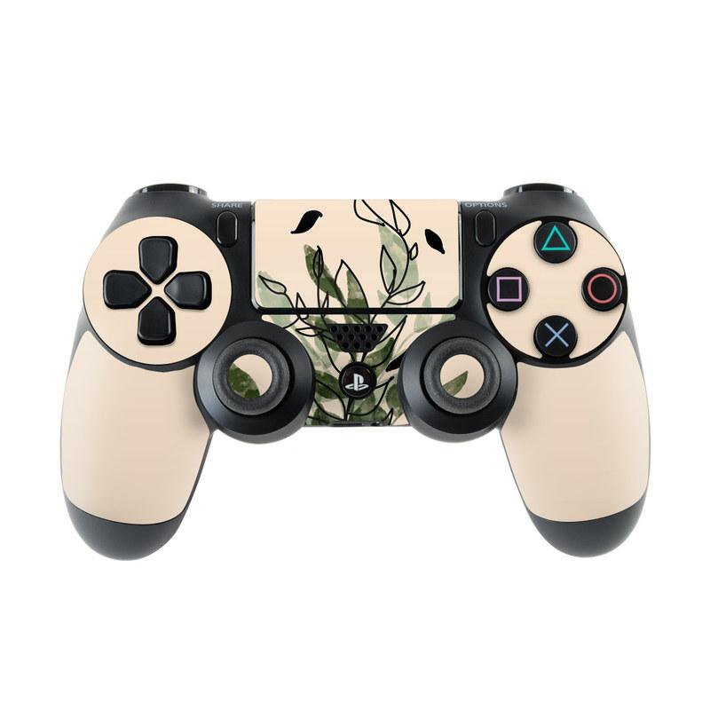 PlayStation 4 Controller Skin design of Leaf, Plant, Botany, Branch, Flower, Plant Stem, Pedicel, Twig, Illustration with green, black, brown colors