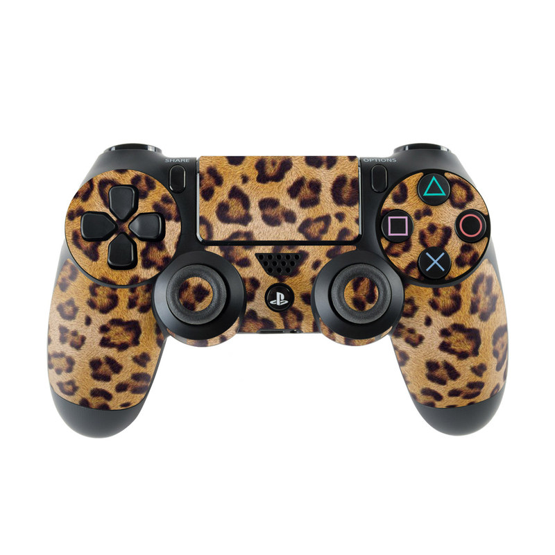 PlayStation 4 Controller Skin design of Pattern, Felidae, Fur, Brown, Design, Terrestrial animal, Close-up, Big cats, African leopard, Organism with orange, black colors