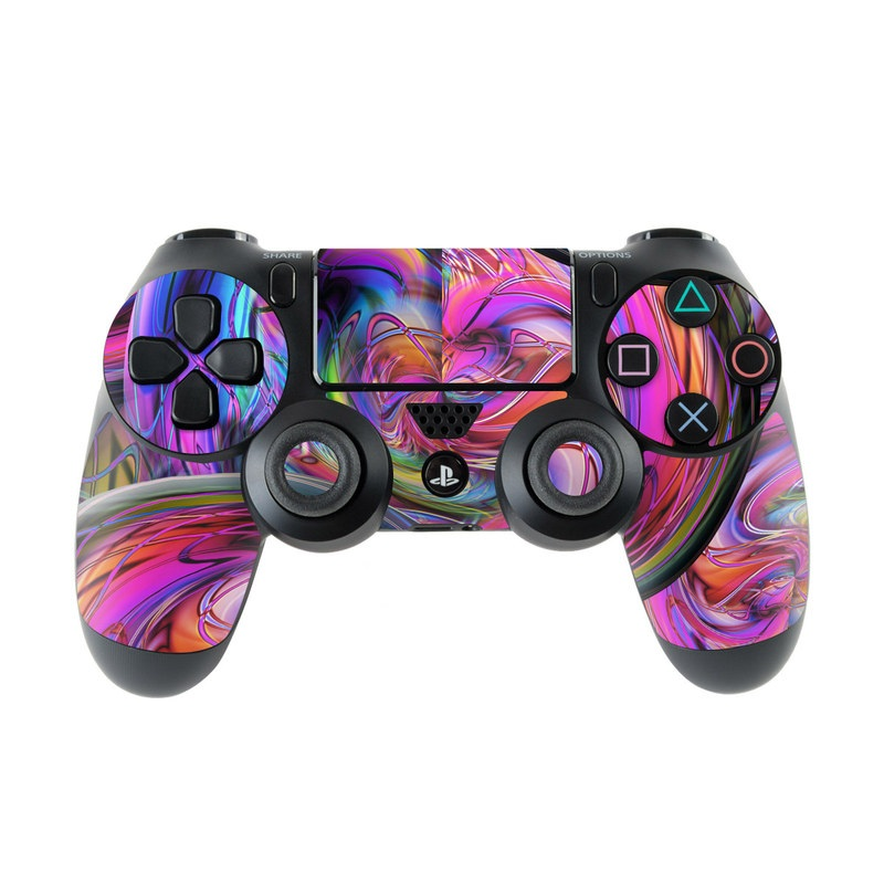 PlayStation 4 Controller Skin design of Pattern, Psychedelic art, Purple, Art, Fractal art, Design, Graphic design, Colorfulness, Textile, Visual arts with purple, black, red, gray, blue, green colors