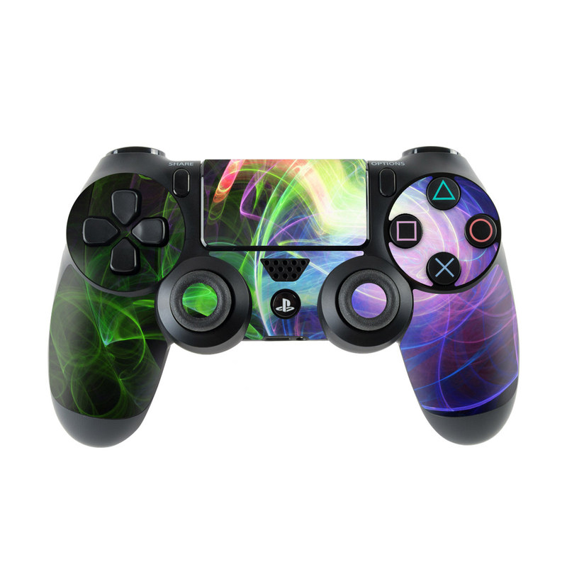 PlayStation 4 Controller Skin design of Light, Blue, Graphic design, Fractal art, Colorfulness, Electric blue, Neon, Circle, Design, Technology with black, blue, green, red, purple colors