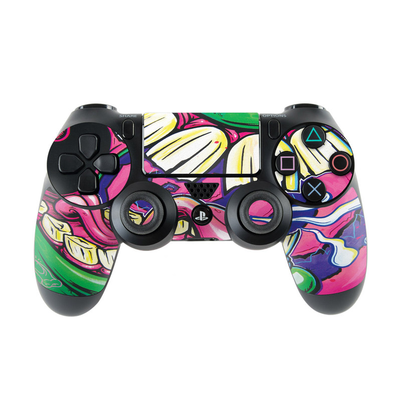 PlayStation 4 Controller Skin design of Graffiti, Psychedelic art, Art, Street art, Fictional character with black, purple, gray, green, blue, yellow colors
