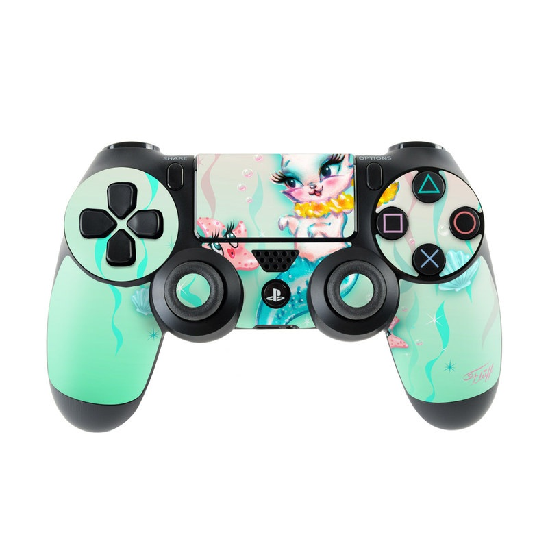 PlayStation 4 Controller Skin design of Cartoon, Illustration, Graphic design, Cat, Clip art, Art, Kitten, Fictional character, Tail, Drawing with blue, pink, white, yellow, orange colors
