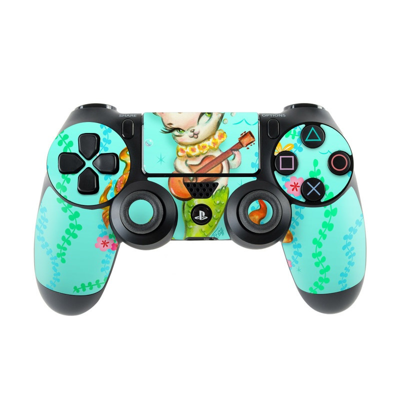 PlayStation 4 Controller Skin design of Fictional character, Illustration, Mermaid, Mythical creature, Clip art, Art with blue, green, pink, yellow, orange, white, gray, brown colors