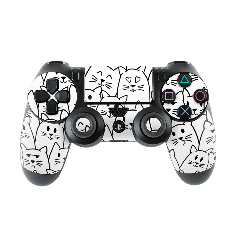 PlayStation 4 Controller Skin design of White, Line art, Text, Black, Pattern, Black-and-white, Line, Design, Font, Organism with white, black colors