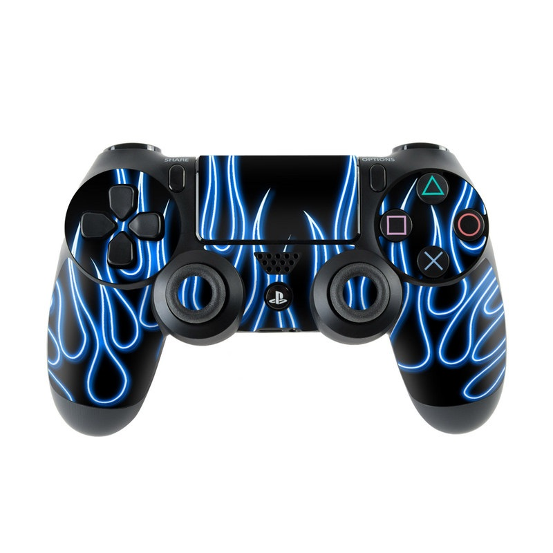 Blue Neon Flames PlayStation 4 Controller Skin