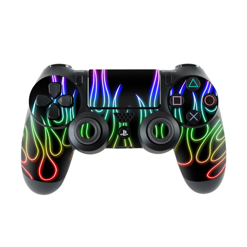 Rainbow Neon Flames PlayStation 4 Controller Skin