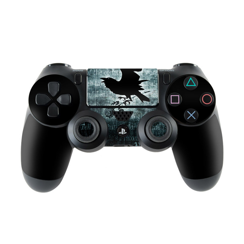 PlayStation 4 Controller Skin design of Bird, Text, Wing, Graphic design, Darkness, Font, Illustration, Graphics with black, white, blue colors