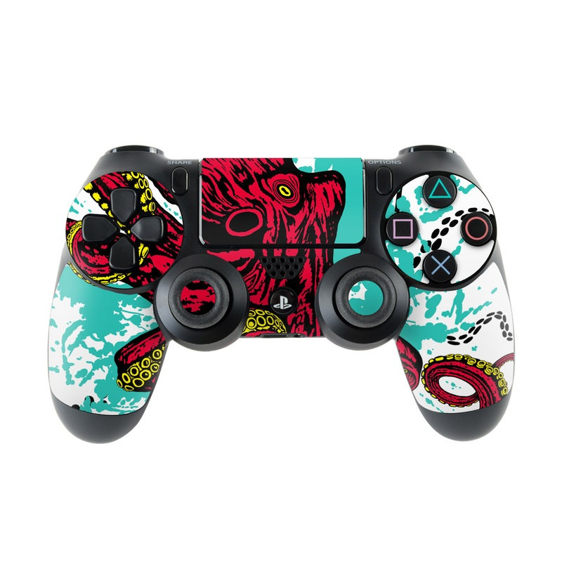 PlayStation 4 Controller Skin design of Graphic design, Illustration, Visual arts, Octopus, Design, Art, Fictional character, Pattern, Clip art, Line art with black, white, gray, red, blue, green colors