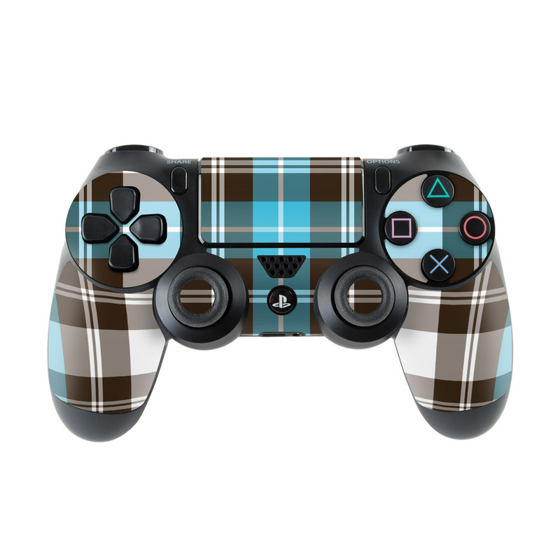 PlayStation 4 Controller Skin design of Plaid, Pattern, Tartan, Turquoise, Textile, Design, Brown, Line, Tints and shades with gray, black, blue, white colors