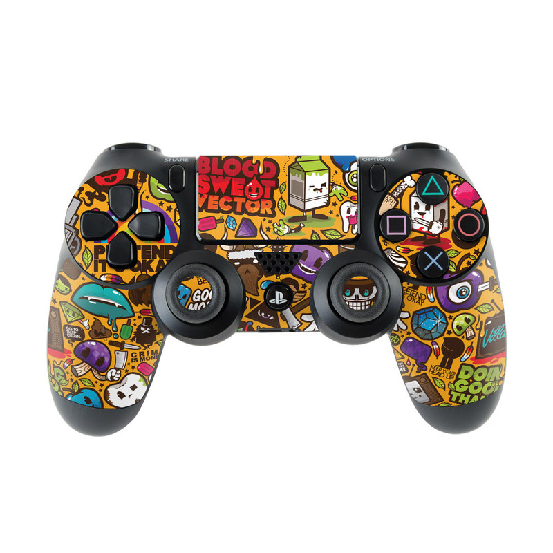 PlayStation 4 Controller Skin design of Pattern, Psychedelic art, Visual arts, Art, Design, Illustration, Graphic design, Doodle with black, green, red, gray, orange, blue colors
